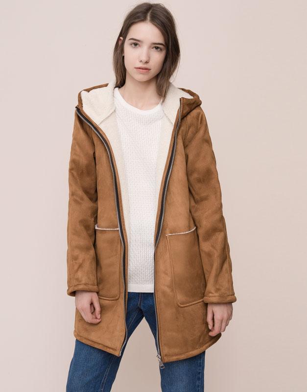 Manteau long fausse fourrure femme pas cher