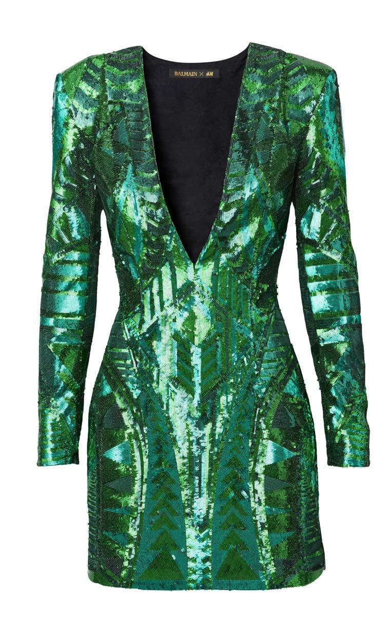 balmain_hm_vestido verde