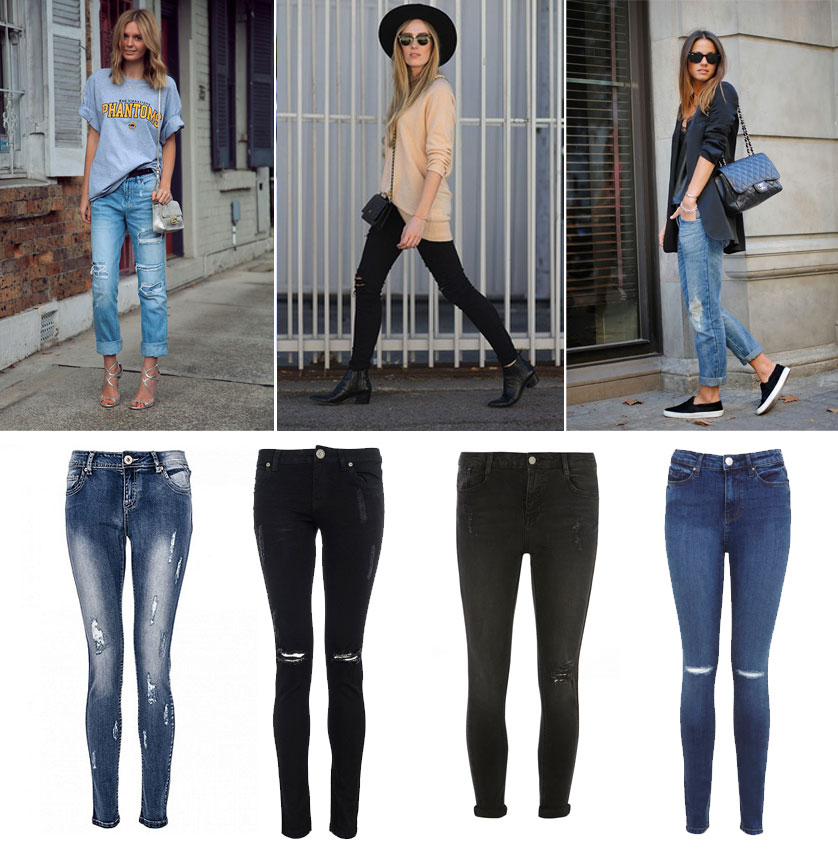 looks street style Ripped jeans