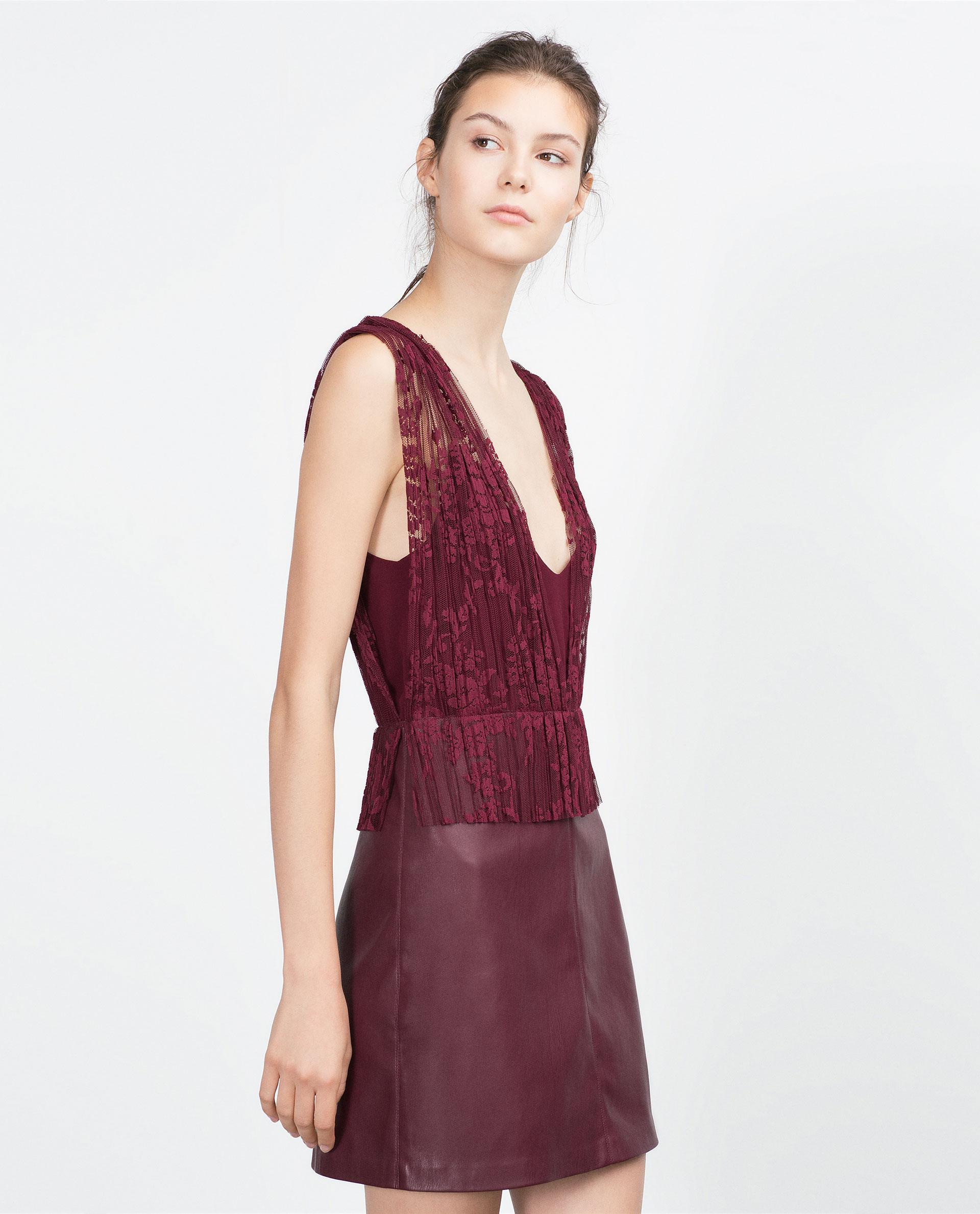 vestido Zara encaje burdeos