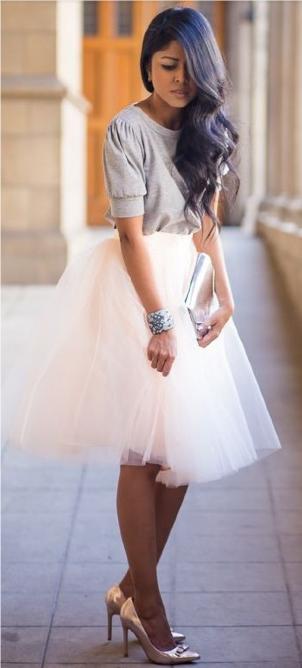 Falda tul blanco