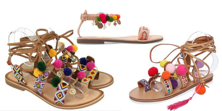 Vuelven las sandalias con pompomes