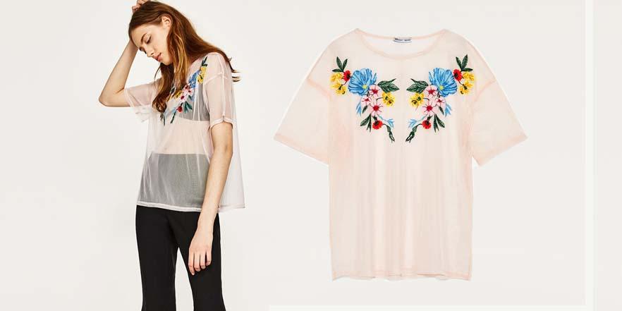 camiseta transparencias Zara