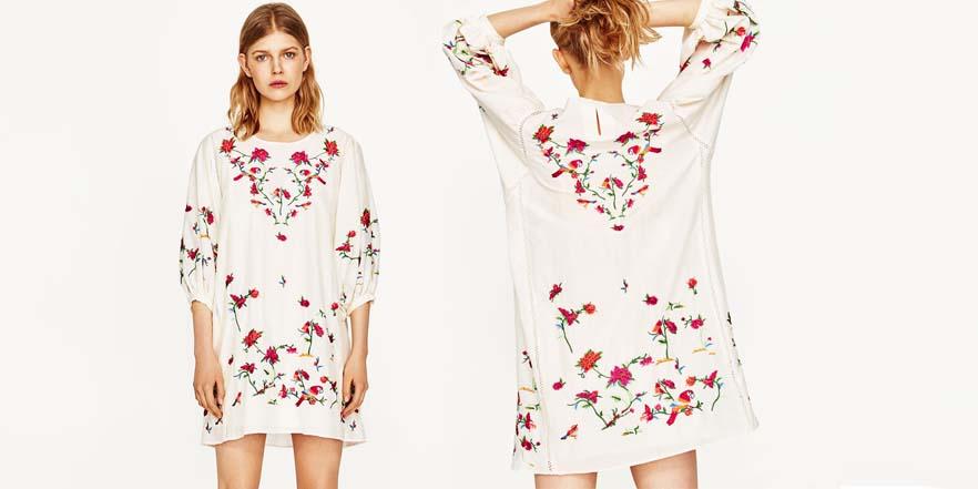 vestido print floral Zara
