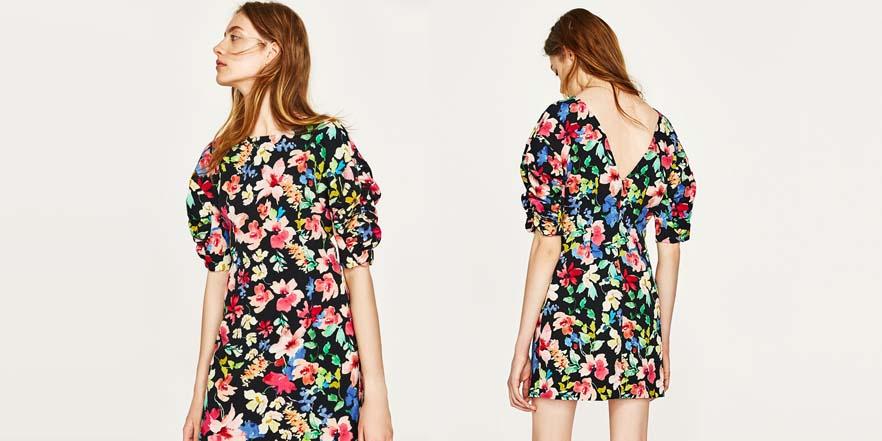 vestido print floral rebajas 2017 Zara