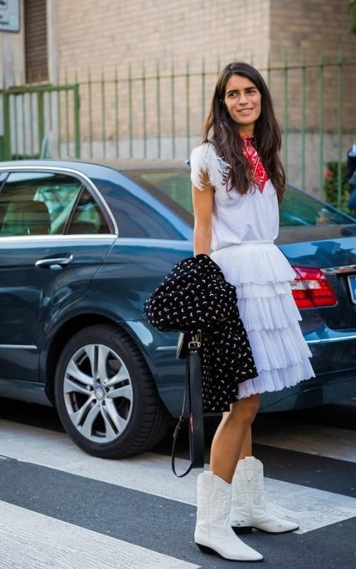 vestido y botas vaqueras street style