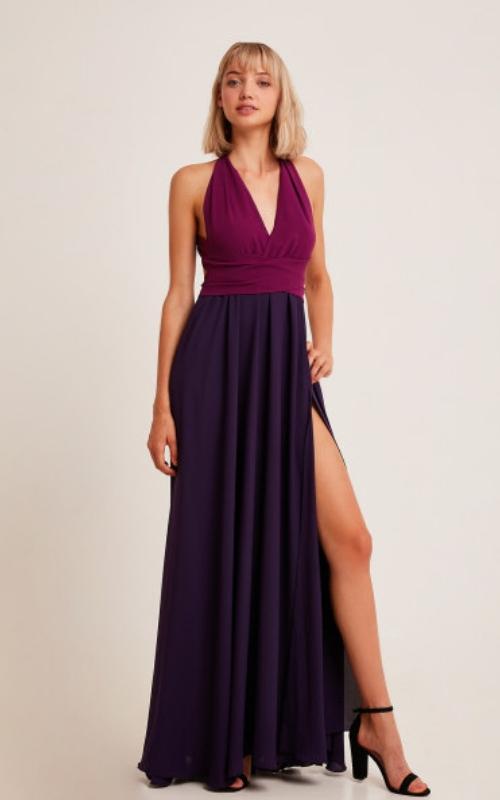 vestido morado de fiesta