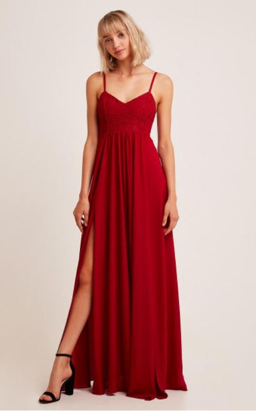 vestido rojo de subdued