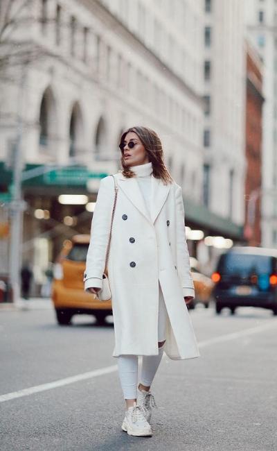 dulceida look de abrigo blanco