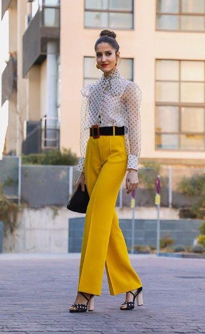 pantalón palazzo amarillo de fiesta